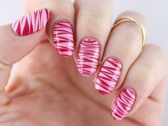 Candy Cane Water Marble Nail Art ~ base polish Essie 'Fiji' and watermarble with Essie 'Need a Vacation' and 'Fishnet Stockings' ~ by Spektor's Nails