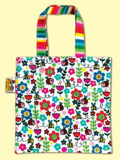 Floral, bees and ladybirds mini tote bag by Rachel Ellen Designs