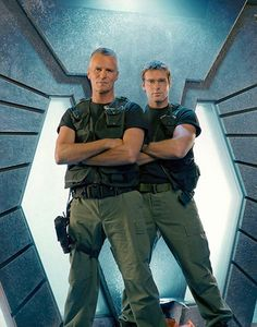 Richard Dean Anderson as General Jack O'Neill & Michael Shanks as Dr. Daniel Jackson on Stargate SG-1