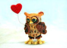Needle felted happy valentines owl with by SkojSkojDesignStudio