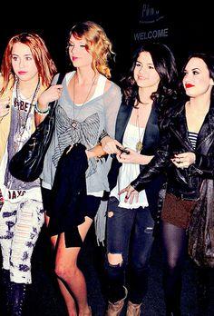 Taylor, Miley, Selena, and Demi!