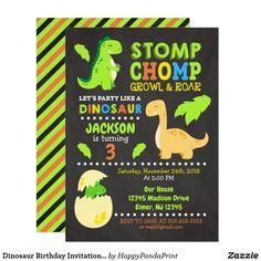 Dinosaur Birthday Invitations, Dinosaur Birthday Party, Birthday Invitation Templates, 3rd Birthday Parties, Zazzle Invitations, Boy Birthday, Third Birthday, Birthday Ideas, Golden Birthday