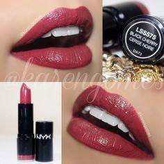 #ShareIG Black Cherry da linha Extra Creamy Round Lipstick. É cremosinho mas ainda assim gostei da textura pq não é exagerado, não deixa a boca muito 'molhada' e ainda tem boa pigmentação! Ganhei da Juju lá do @jujuimportados ✨ ----------------------------------------------- Extra Creamy Round Lipstick Black Cherry by Nyx @nyxcosmeticos_br @NYX Cosmetics ✨