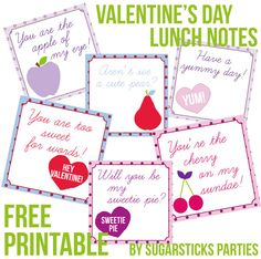 Free Valentine's Day notes printable from Sugarsticks Parties- lovely and adorable just like your little one