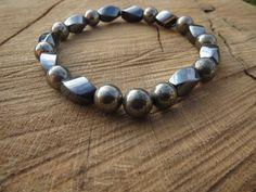 PYRITE Bracelet Men Bracelet Men's Hematite by BohemianChicbead