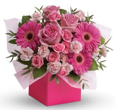 - Think Pink. Looking to pamper someone special? Think pink! Hot pink gerbera mix with soft pink roses and mini carnations in this fabulously fun arrangement. Pink Flower Bouquet, Gerbera Flower, Pink Gerbera, Pink Flowers, Pink Roses, Fresh Flowers, Unusual Flowers, Amazing Flowers, Mothers Day Flower Delivery