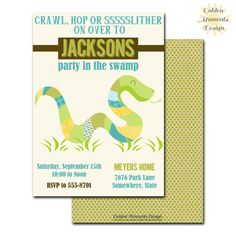 Items similar to Reptile Birthday Party Invitation, Snakes and Lizards, Boy's Birthday Party, Printable, Customized on Etsy Printing Services, Online Printing, Printable Invitations, Printables, Boy Birthday, Birthday Parties, Bridal Shower, Baby Shower, Color Names
