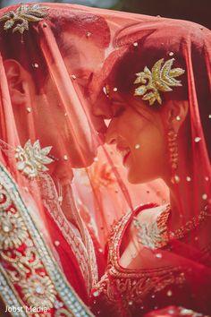 Indian Bride and Groom Wedding Day Portrait http://www.maharaniweddings.com/gallery/photo/82957