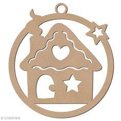 Forme en bois à suspendre - boule de Noël Maison de pain d'épices - 7 cm