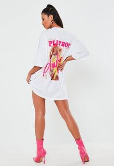 Playboy x Missguided White Printed Oversized T Shirt Dress. Order today & shop it like it's hot at Missguided. Slogan T Shirt Dress, Grey T Shirt Dress, Playboy, Black Outfit Edgy, Oversized Hoodie Dress, Er 5, Going Out Dresses, Dresses Uk, Missguided