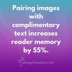 Pairing images with complimentary text increases reader memory by 55%! (are you thinking #socialmedia‬  strategy?) grin emoticon For more tips like this one:   http://instagram.com/ideagirlmedia ‪ #content   #strategy   #contentstrategy   #contentmarketing   #contentmarketingstrategy   #contentmarketingtips   #socialmediatips   #socialmediamarketing   #bloggingtips