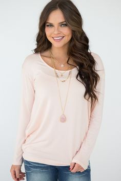 Crossing Paths Long Sleeve Knit Top - Peach
