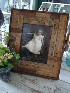 Picture frame matting....old ruler pieces.