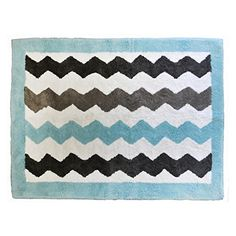 My Baby Sam Throw Rug - Chevron Baby Aqua
