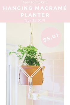 I'm sharing a fun and super inexpensive way to bring some decor into any space with a hanging macramé planter that cost me a cool $5.01.