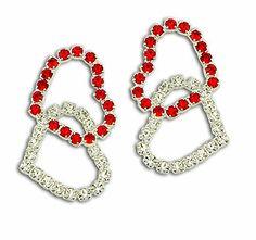 #Brinco #folheado a #prata, em forma de coração duplo, composto por 72 pedras de strass no par.  - Código: BS2315 P - Preço 30,60 - Garantia de 1 ano pós compra. Compre em: www.imagemfolheados.com.br/?a=76729