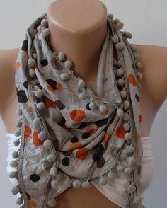 Grey and Orange  Polka Dot   Shawl  Scarf  Headband with by womann, $14.90