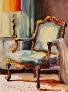 FRANSE STOEL is such an inviting painting, beckoning one to enter and sit for a while! Cool blues are played off against a warm lamp and light highlighting the beautiful French chair.  INTERIOR ART PRINT OF ORIGINAL PAINTING BY CECILIA ROSSLEE  This listing is for a 12 1/2 X 15 1/2 print on paper.  This is a print of the original oil painting Ive done. Its printed on heavyweight high-quality card stock paper, sealed and well packaged for protection.  I have such a passion for painting French…
