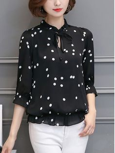Specifications Product Name: Tie Collar Polka Dot Blouse Material: Chiffon Collar&neckline: Tie Collar Pattern Type: Polka Dot Sleeve: Short Sleeve Occasion: Date Season: Summer Size chart as a reference: Shoulder Length Bust m Inchcm 1539 2461 39100 l Inchcm 1640 2462 41104 xl Inchcm 1641 2563 43108 2xl Inchcm 1742 2564 44112 3xl Inchcm 1743 2665 46116 All dimensions are measured manually with a deviation of 2 to 4cm. More Pictures