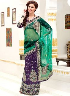 Green And Purple Net And Embroidered Lehenga Style Saree