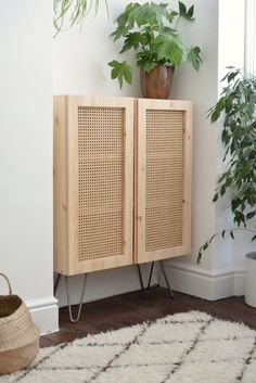 This IKEA hack uses Cane to turn a simple cabinet into a beautiful design . - This IKEA hack uses Cane to turn a simple closet into a design beauty hunker, beauty - Hacks Diy, Ikea Hacks, Ikea Ivar Cabinet, Ikea Metal Cabinet, Shoe Cabinet, Diy Home Decor, Room Decor, Home Decor Hacks, Diy Hanging Shelves