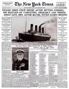 The front page of The New York Times of April 16, 1912, after the Titanic disaster
