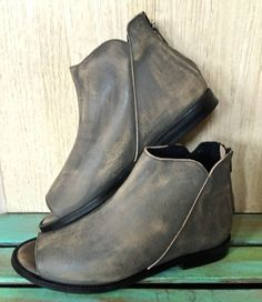 NWOB $148 Free People Falcon Flat open toe ankle Boots Booties washed gray 38 #FreePeople #opentoeanklebooties #Casual
