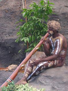 *ANCIENT AUSTRALIA ~ Music plays a vital role in the life of the male throughout the Dreamtime, w/this individual playing Digeridoo, which was traditionally only played by males. Aboriginal Culture, Aboriginal People, Aboriginal Art, Australian People, Australian Icons, Campervan Hire Australia, Australia Travel, Tasmania, Indigenous Education
