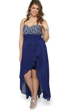 Deb Shops Plus Size Long #Prom #Dress with Stone Bodice and High Low Tulip Skirt $99.81