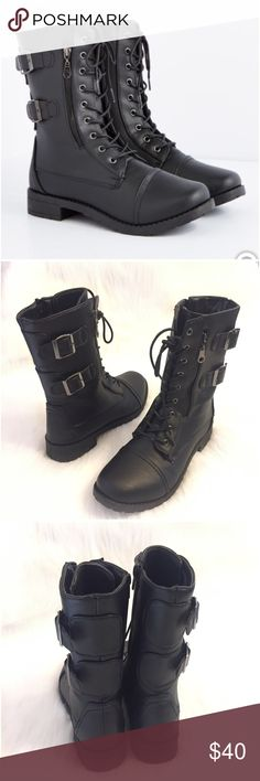 """Black Vegan Leather Lace Zip Up Combat Boots M 7 8 Black combat boots from Rue 21.  Size medium - 7 / 8. Made of faux leather. Comfy footbed. Edgy black laces and buckles. Zips up the sides. Dark silver gunmetal hardware. Heel measures 1.25"""". Total height: 9.25"""". Like new without tags. Worn for 15 minutes indoors. I love them, but I have sooooo many boots and can't keep them all. Exteriors/uppers are PERFECT. See photos. Rue21. Smoke-free home. No trades. Offers welcome!💕 Rue 21 Shoes…"""