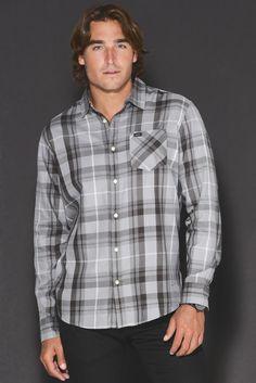 RVCA Long Sleeve Waas Grey Plaid Button Down Shirt | South Moon Under