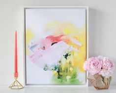Blush Mountain Abstract Canvas this one might be my favorite yet would love it huge on my wall!