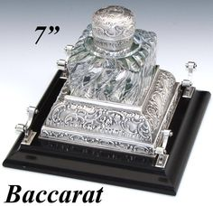 Rare Antique French Hallmarked Silver & Baccarat Swirled Crystal or Glass Inkwell, Rococo Inkstand