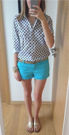 Colorful shorts - bright colors! And nice blouses