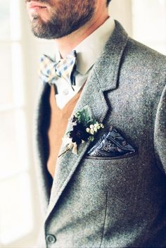Dapper #Groom in a #Tweed Suite I New York Wedding Consultant I See more @WeddingWire