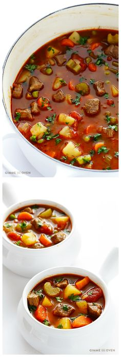 Vegetable Beef Soup -- this comforting and delicious soup can be made on the stovetop or in the slow cooker | https://gimmesomeoven.com