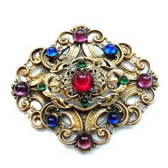 Joseff of Hollywood Haute Couture Belt Buckle/Brooch with Colored Cabochons