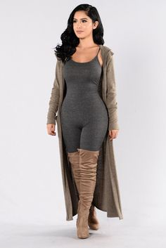 - Available in Heather Grey and Olive - Long Cardigan - Long Sleeve - Open Front - Side Pockets - Side Slits - Soft Material - Made in USA - 67% Polyester 29% Rayon 4% Spandex