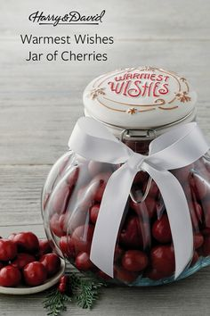 "Spread holiday joy with a decorative Christmas jar filled with chocolate-covered cherries. The jar is topped with a festive red ribbon and features a ""Holly Jolly"" message sending its warmest wishes. Holiday Gift Guide, Holiday Gifts, Christmas Gifts, Harry And David, Chocolate Covered Cherries, Christmas Jars, Gifts For Coworkers, Red Ribbon, Food Gifts"