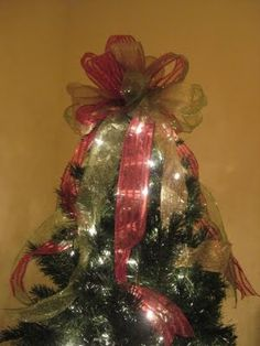 How to make a Christmas bow tree topper