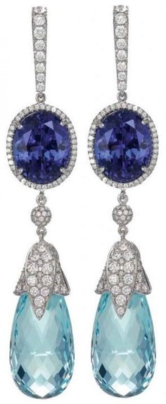 Aquamarine, diamond and sapphire earrings by Chopard.  LBV