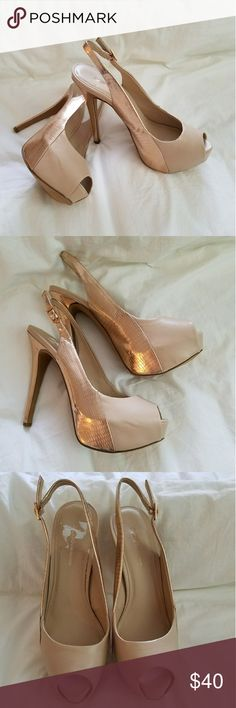 Stunning Heels These are absolutley beautiful shoes. Very pretty nude/blush colored platform peeptoe. Slingback high heel in a patterned rose gold like color. EUC barely worn. BCBGeneration Shoes Heels