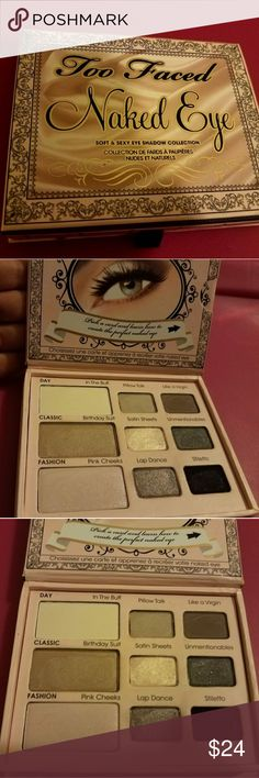 Too Faced Naked Eye Palette 9 cool toned taupe neutral eyeshadow shades Perfect for an everyday look  Lightly swatched, most shades untouched Includes 3 look tutorial cards Too Faced Makeup