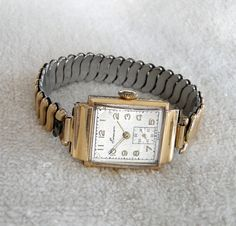 Vintage 1950s Mans 14K Solid Gold EMERSON (Hamilton) Wrist Watch-Works by TheCalamityHouse on Etsy