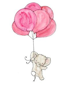 Pink Elephant Balloon Print I really want this but with Multi-colored heart shaped balloons and a few more strings instead of the one all the way up. Little Elephant, Cute Elephant, Pink Elephant, Elephant Balloon, Balloon Animals, Animal Drawings, Cute Drawings, Scrapbooking Image, Ballon Rose