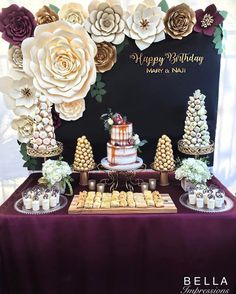 Burgundy and Gold | Rustic Glam. @bella_impressions Burgundy & Gold Dessert table - paper flower backdrop - Dessert towers - cakes - name sign - ferrero rocher tower - French macaron tower - chocolate covered strawberry tower - paper flowers -  french macarons    For rent or purchase. Southern ca. LA • OC • IE We ship flowers nationwide.     Etsy Store: https://www.etsy.com/shop/BellaImpressionsShop   Website: Www.bellasimpressions.com