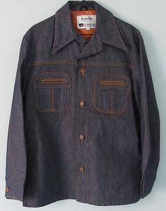 Vintage 60s 70s Mens Hard Denim Jacket Satin Lined