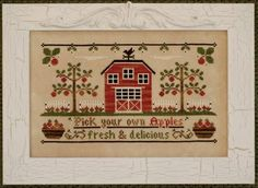 Country Cottage Needleworks Apple Orchard, The - Cross Stitch Pattern. Pick your own apples - fresh & delicious. Model stitched on 28 Ct. Cross Stitch House, Cross Stitch Samplers, Cross Stitch Kits, Cross Stitch Charts, Cross Stitch Designs, Cross Stitching, Cross Stitch Embroidery, Cross Stitch Patterns, Pick Your Own Apples