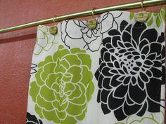 shower curtain 72w x 72 long cream black green teri phipps