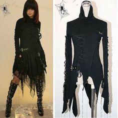 Alternative Black Hooded Goth Emo Vampire Jacket Scene Clothing Women  SKU-11401299